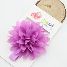 5pcs Retail Pack Kids Hair Accessories 2016 New High Quality Chiffon Fabric Flower Elastic font b