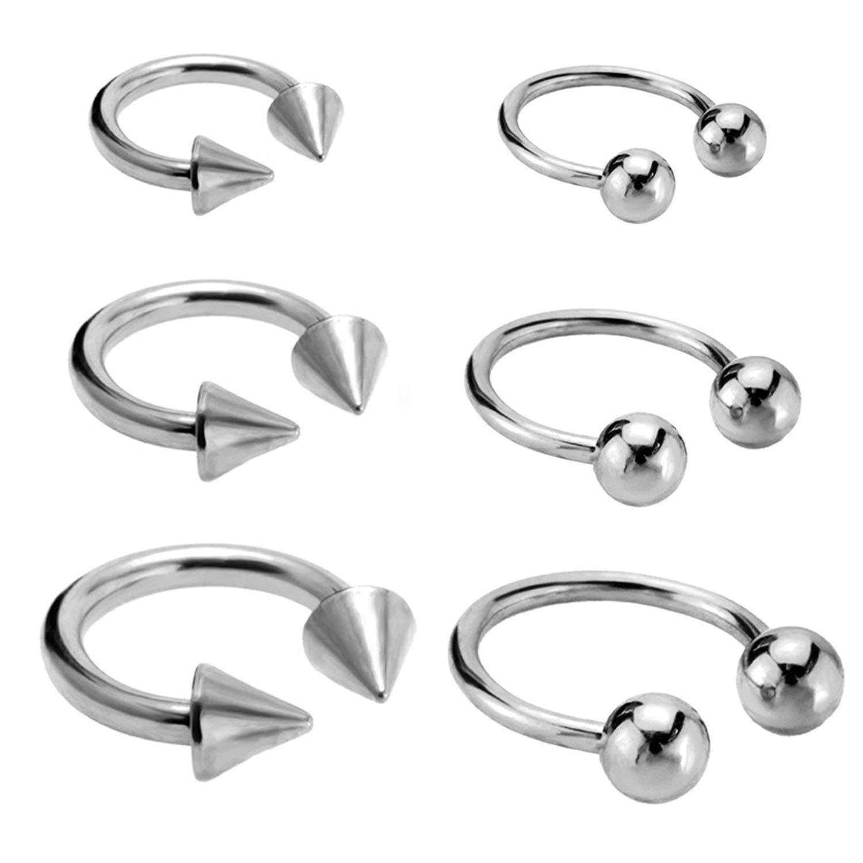 Get Quotations Joybeauti Uni Stainless Steel Horseshoe Hoop Ear Cartilage Helix Septum Circular Barbells Earrings 16 Gauge