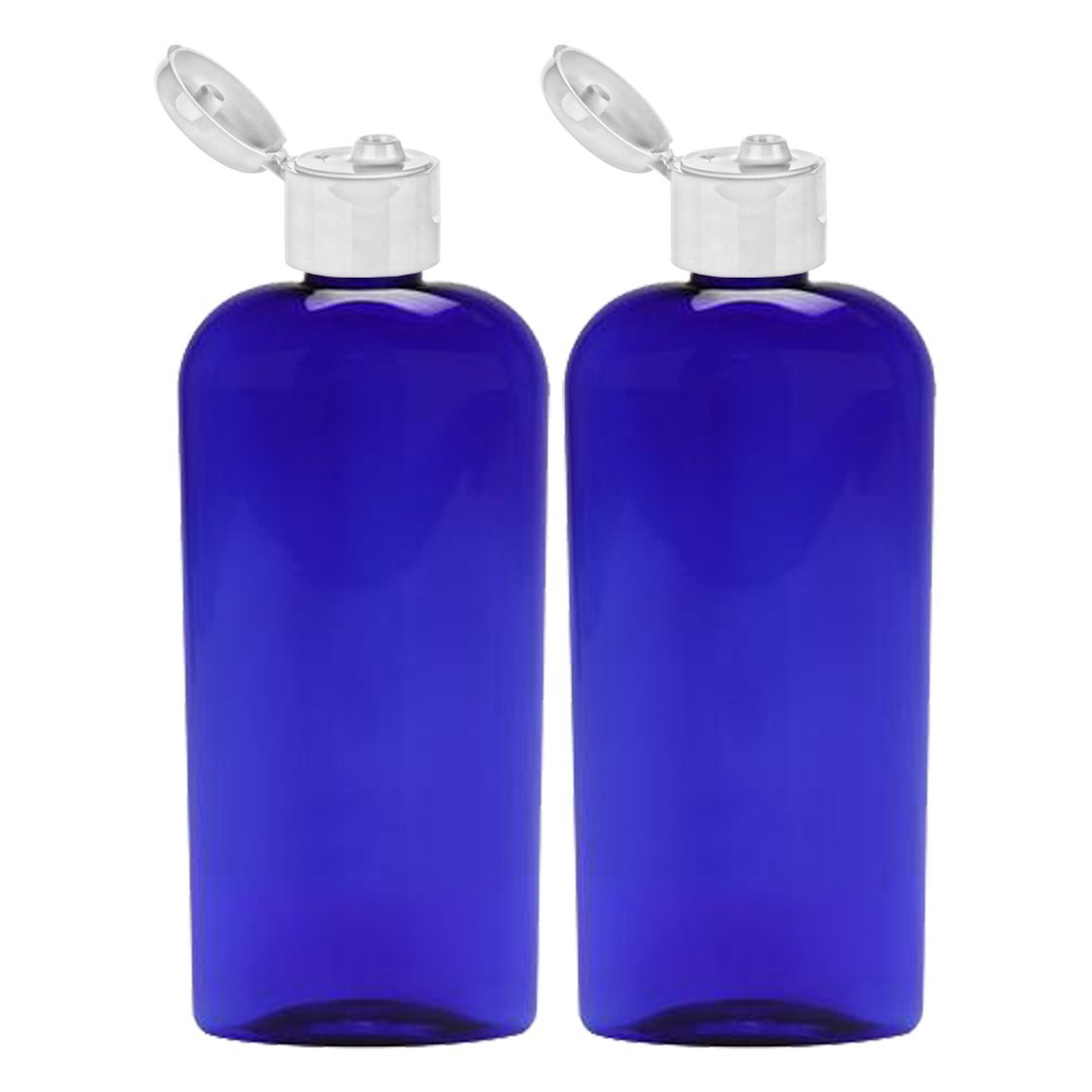 MoYo Natural Labs 8 oz Flip Cap Bottle, Empty Containers for Shampoo or Lotions, BPA Free PET Plastic Squeezable Toiletry/Cosmetic Bottles (2 pack, Cobalt Blue)