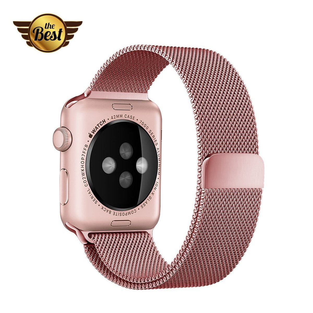 Apple Watch Band, Qiwooode iWatch Band Magnetic Closure Clasp Mesh Loop Milanese Stainless Steel Replacement Bracelet Strap for Apple iWatch Series 1 Series 2 Sport & Edition (38mm Rose Gold)