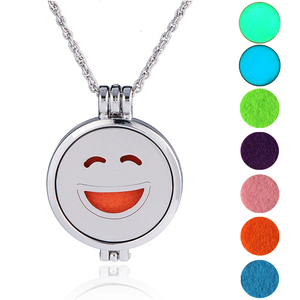 Imitation Rhodium Silver Plated Openable 316L Stainless Steel Essential Oils Necklace 20Mm Emoji Mood Necklace