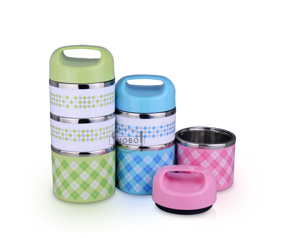 Multi-layer leakproof keep food hot thermos lunch box color stainless steel bento box