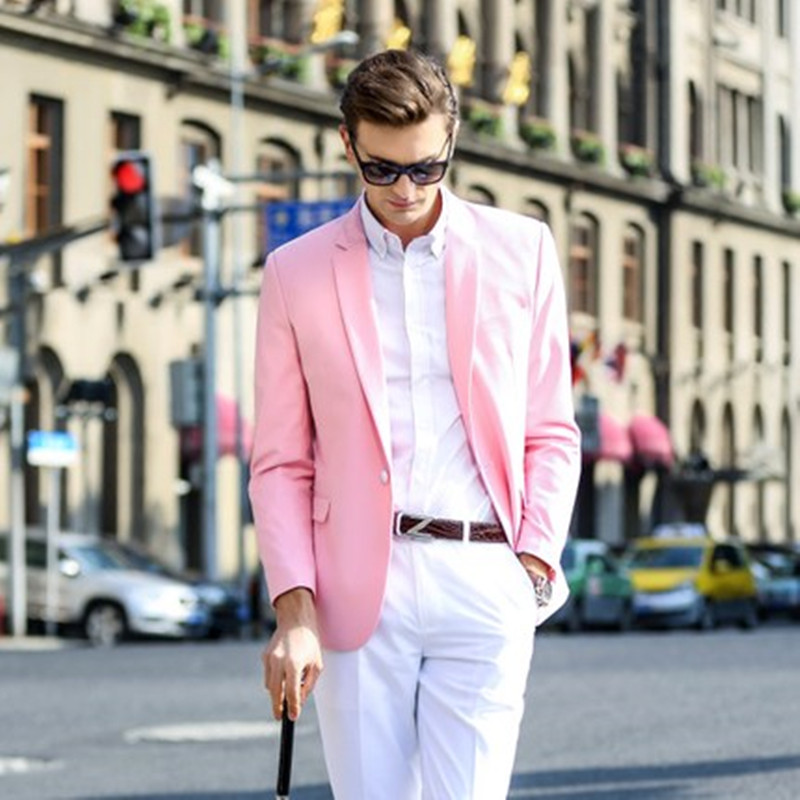 material seleccionado oficial mejor calificado mejor amado Traje de color rosa para hombre, versión coreana del traje rosa, chaqueta  de hombre con hebilla