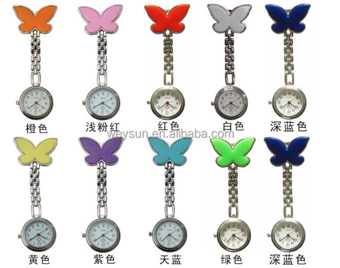 Pocket Medical Nurse Fob Watch Women Dress Watches 4 Colors Clip-on Pendant Hanging Quartz Clock Butterfly Shape, Multi