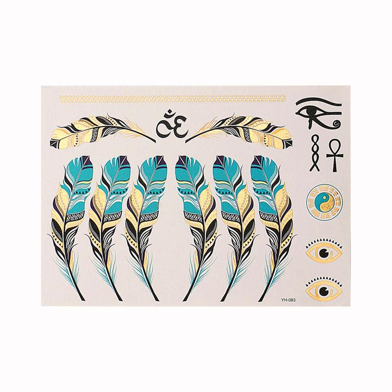 Pcs Waterproof Tattoos Stickers Gold Metallic Tattoo Women Henna Blue Feather Font B Diagrams B Font