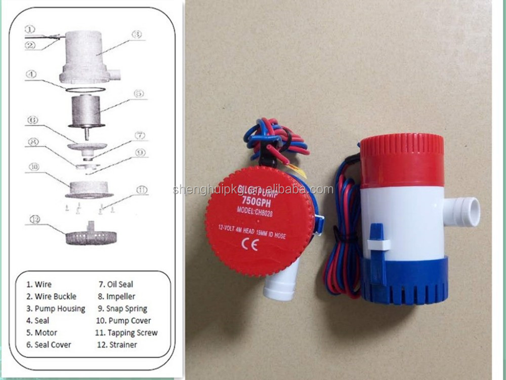 350GPH 500GPH 1000GPH 3700 GPH 12V-24V Submersible Bilge Pump Float Switch With boat pump