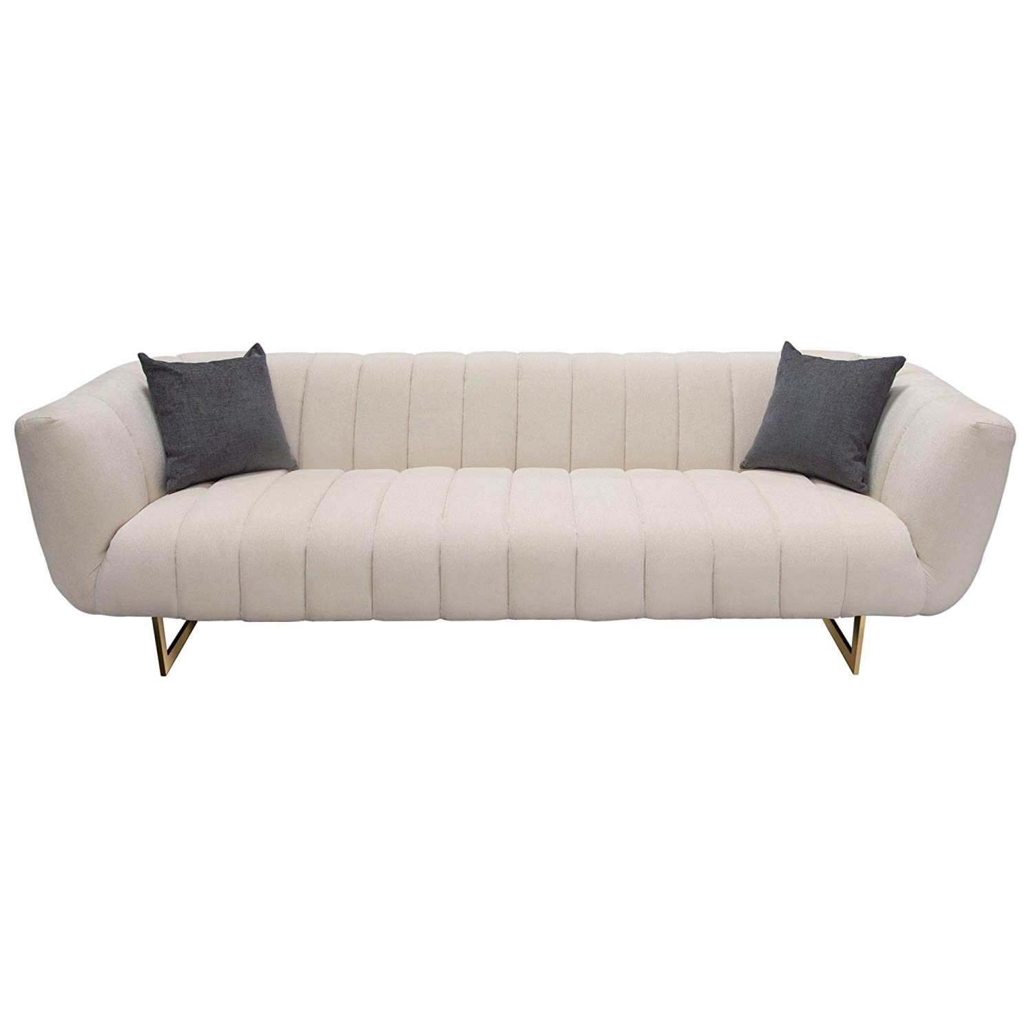 Get Quotations · Diamond Sofa VENUSSOCM Venus Cream Fabric Sofa W/  Contrasting Pillows U0026 Gold Finished Metal Base