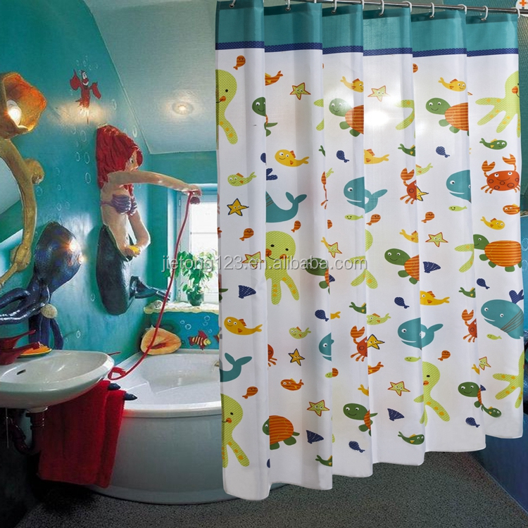 Custom European Style Kid Cartoon 100% Polyester Shower Curtains