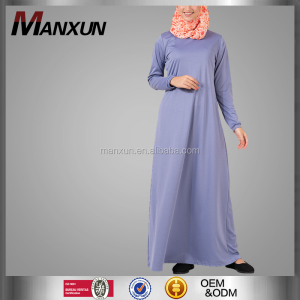 Best selling light purple muslim abaya fashionable maxi plain ladies caftan