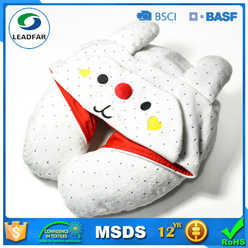 Novelty design for Kids Super soft Travel U shaped cushion pillow with cap, U shape travel neck pillow with hat