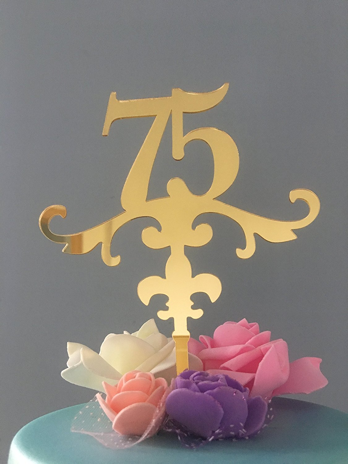 ShinyBeauty Birthday Cake Topper Decorations75th Anniversary Topper75th