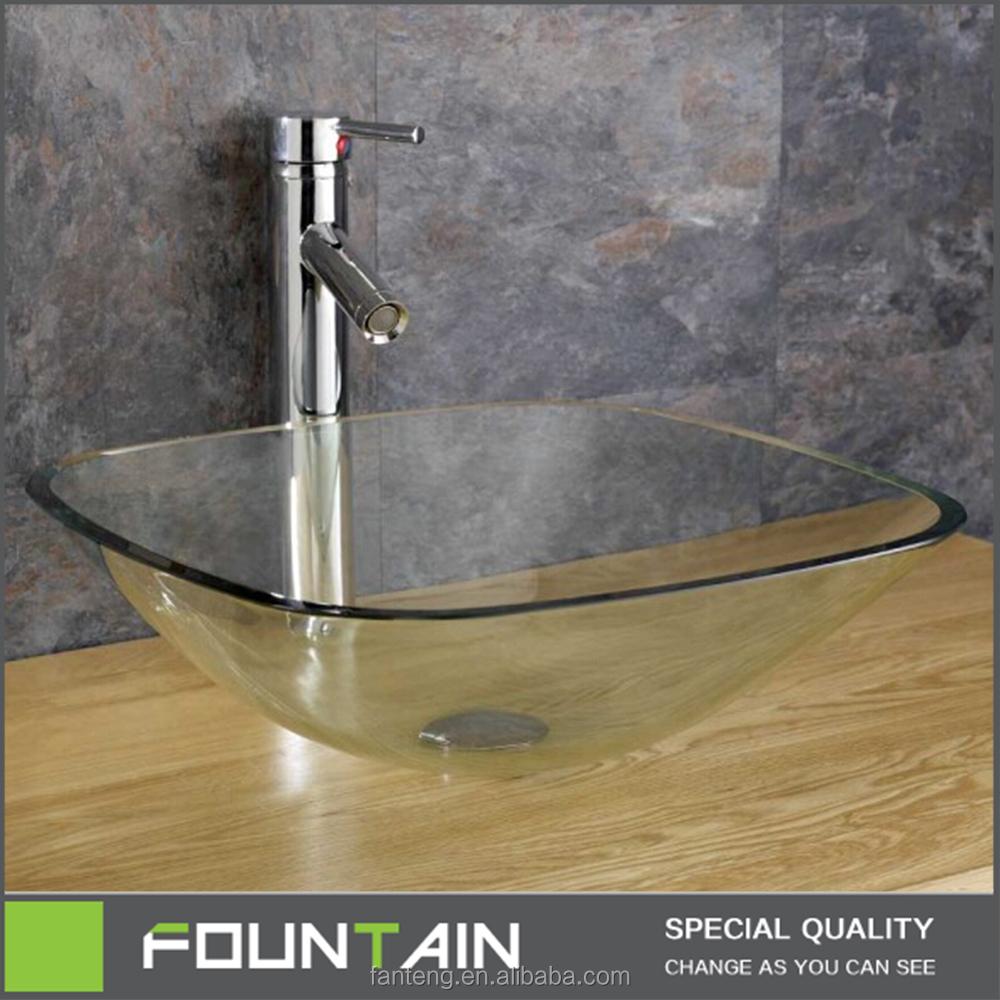 de alta calidad de cristal templado lavabo encimera de lavabo mueble lavabo de color claro cristal