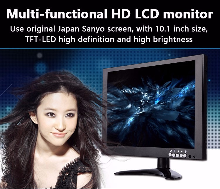 wholesale price 10.1 inch tft lcd cctv monitor good quality monitor with AV input