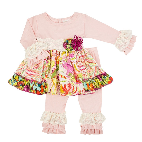 2017 Remake Kids Long Sleeve Floral Tunic Ruffle Leggings Toddlers Fall Clothing Set Boutique Baby Girls Dress Outfits