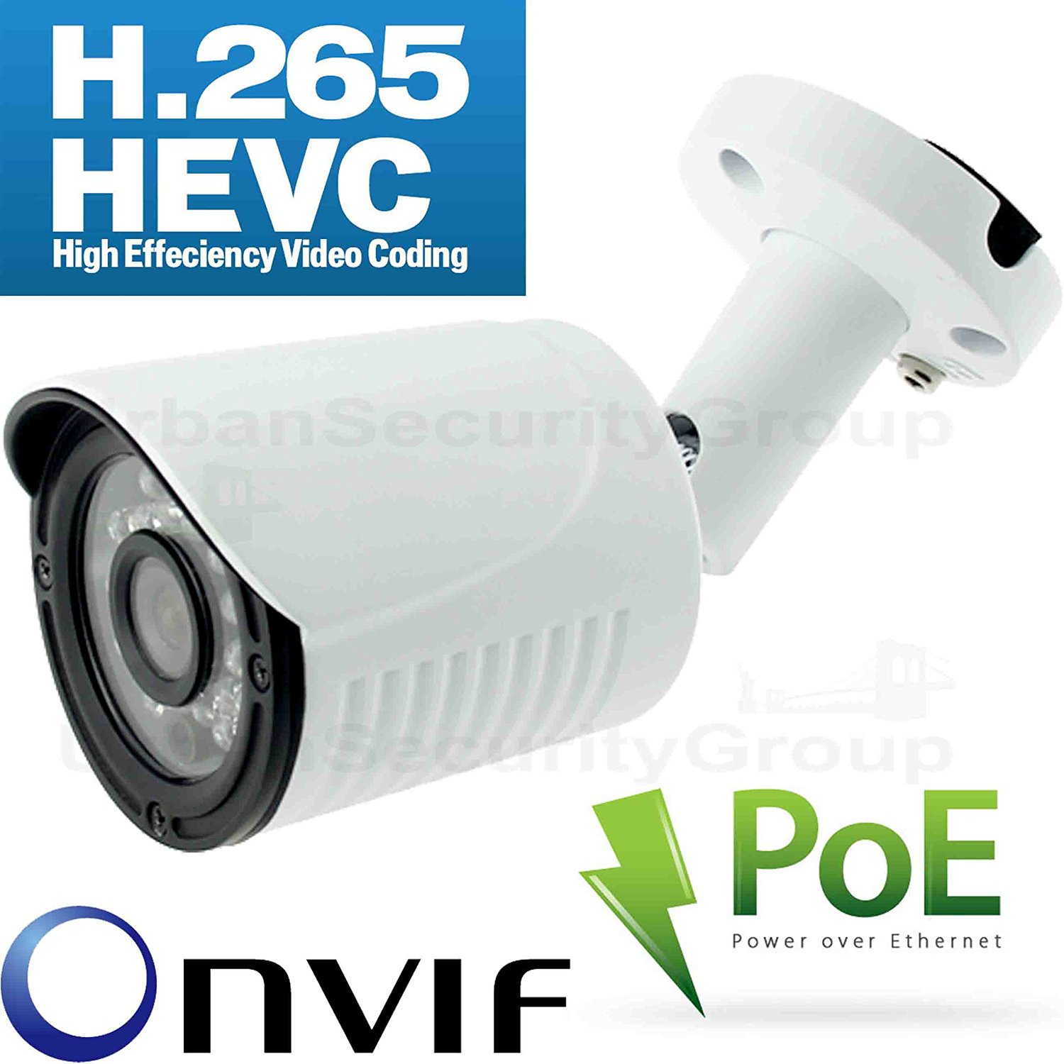 USG H.265 Sony DSP High Definition 2MP 1080P IP Network Bullet Camera * 1920x1080 @ 30FPS * 3.6mm Wide Angle 3MP Lens * ONVIF 2.4 * Motion Detection * Free Phone App + Alerts * Business Grade IP CCTV