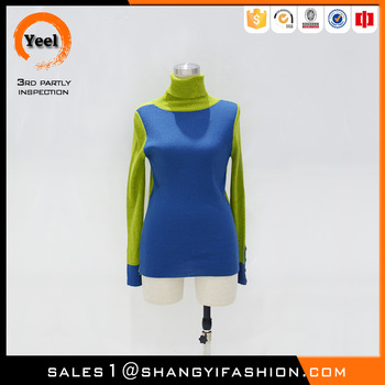 YEEL new products for europe grace jacquard Anti-Wrinkle highneck color block pullover