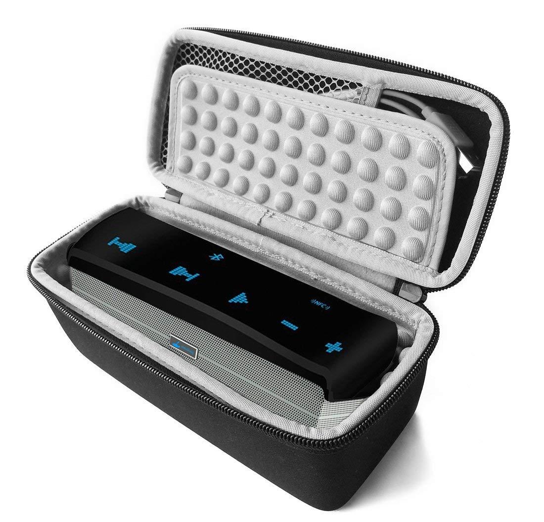 FitSand (TM) Carry Travel Zipper Protective EVA Storage Hard Case Box Bag for Meidong iChocolate Portable Wireless Bluetooth Speaker (Black+Gray)