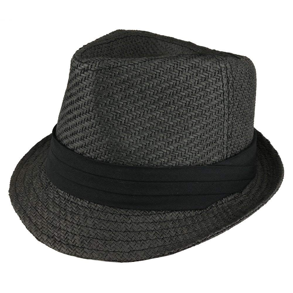 70dd3df0b14 Get Quotations · Trendy Apparel Shop Youth Size Paper Straw Inner Elastic  Fedora With Hat Band