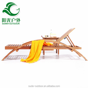 Outdoor Daybed Beach poolside chaise lounger wooden Sun Bed