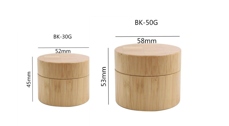 SRS empty wholesale 30g 50g cosmetic bamboo packaging bamboo cream jar