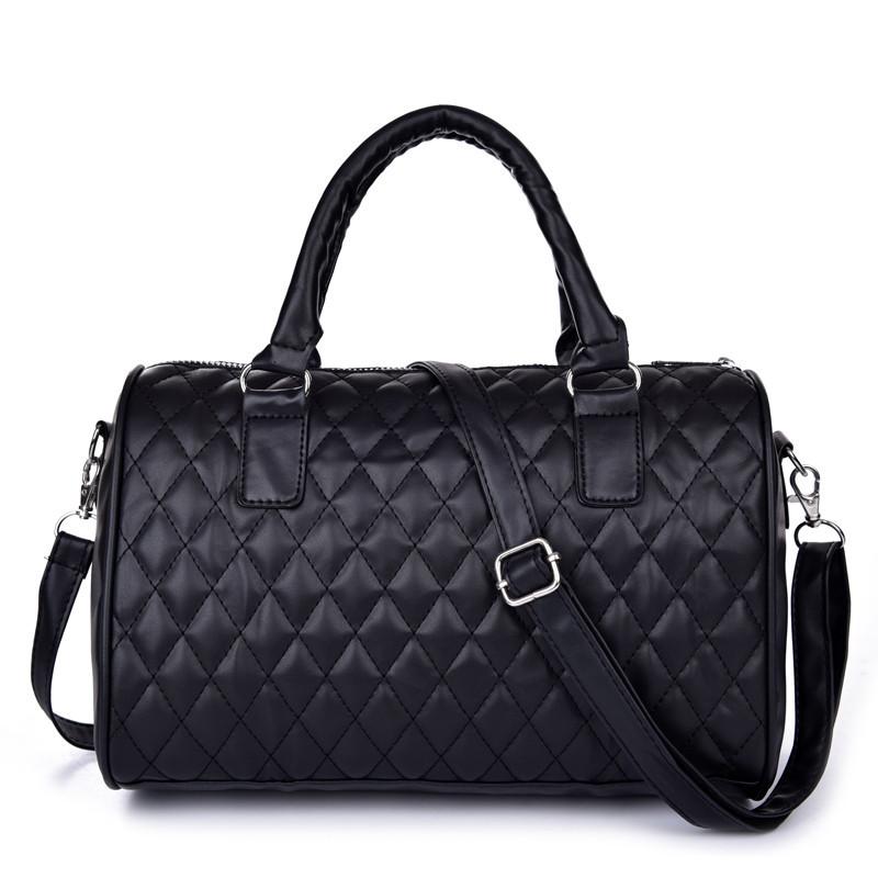 frauen handtaschen aus leder diamantgitter schwarz gesteppt kissen taschen vintage schulter. Black Bedroom Furniture Sets. Home Design Ideas