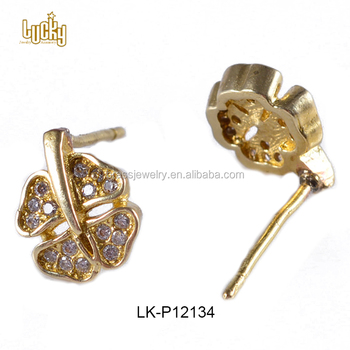 Mexican Gold Jewelry Egyptian Four Leaf C Shapes 18kt Yellow Br Earring Locking Backs