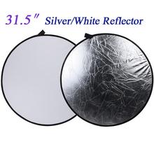 32″ 80cm 2 in 1 Round Flash Photo Studio Collapsible Light Photography Camera Reflector Silver White Fotografia Reflectors Disc
