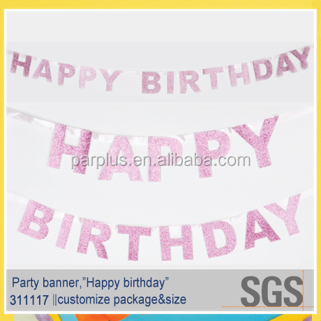 Pink birthday decoration hanging paper letter banner