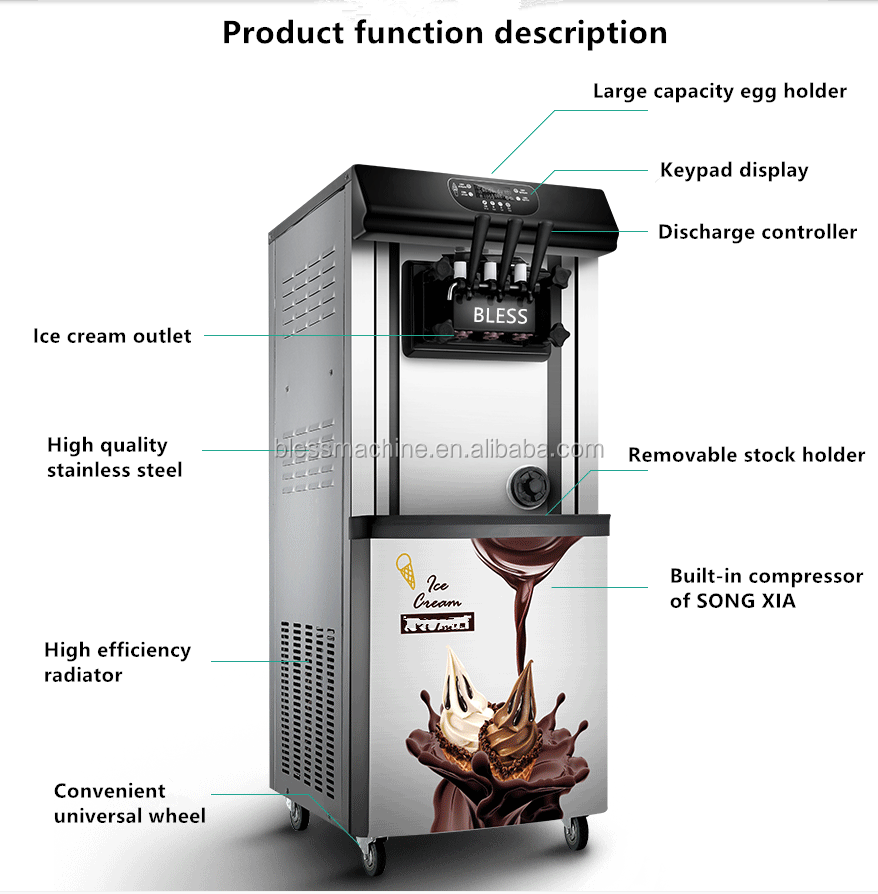 2018 High Quality Soft Serve 3 Flavor Used vending ice cream machine business with Super performance