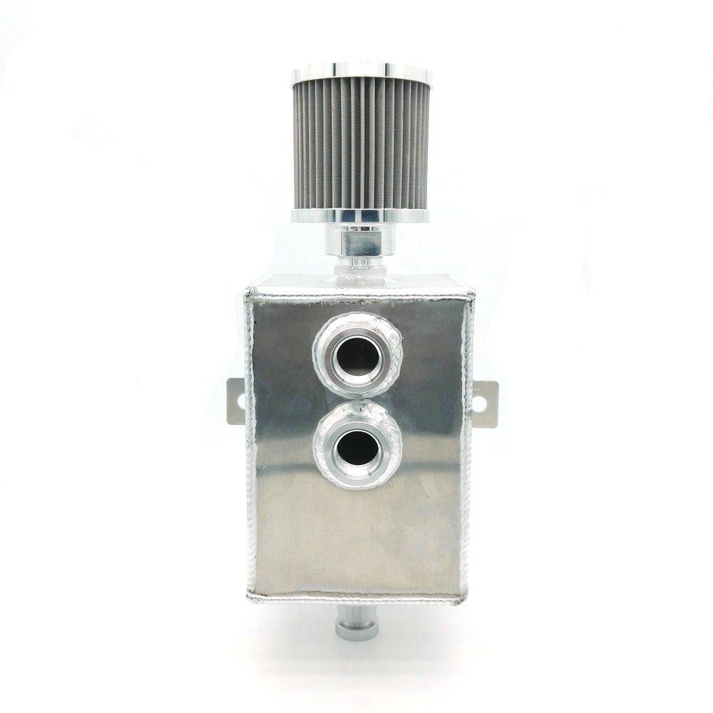 Heinmo Car Raw Aluminum 2L JDM Oil Catch Can Tank Breather& Drain Tap Baffled Universal