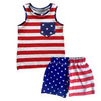 wholesale boy boutique outfit 4th of July clothes sleeveless children's clothing