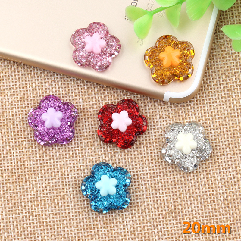 50 Mixed Color Flatback Resin Glitter Crystal Cabachons Scrapbooking Craft