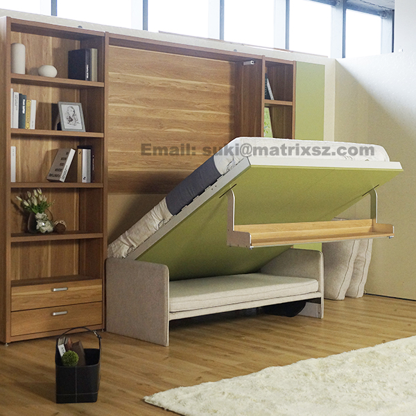 Fold down Sofa Wall Bed,Wall Bed With Sofa and Bookshelf,Space Save Sofa Wall Bed