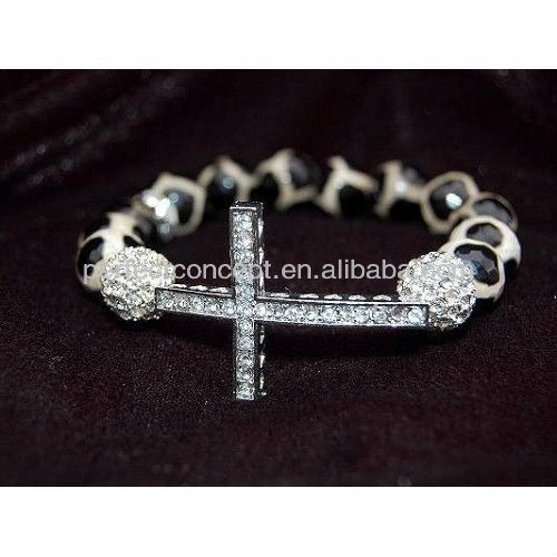agate dzi silver sideways cross stretch bracelet