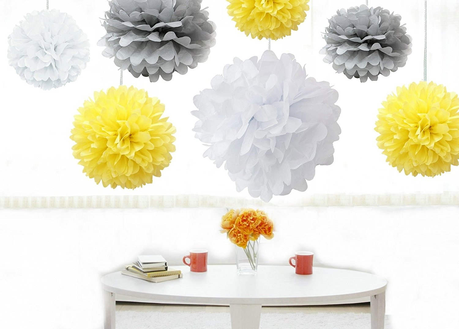 Buy kubert pom poms 18 pcs tissue paper flowers white yellow kubert pom poms 18 pcs tissue paper flowerswhite yellow silver 3 sizestissue paper pom pomsbest mothers day decorationwedding decorparty decor mightylinksfo