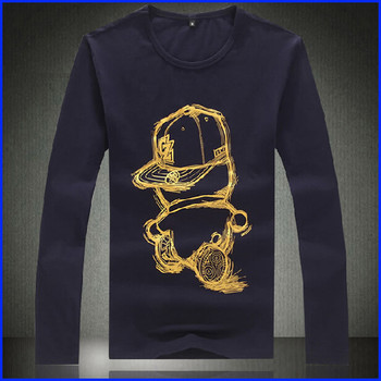 Flockdruck Und Foliendruck Langarm Mode Herren Langarm T Shirt Buy