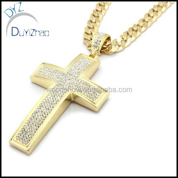 Mens gold iced out cross pendant hip hop 30 inch cuban necklace mens gold iced out cross pendant hip hop 30quot inch cuban necklace chain aloadofball Choice Image