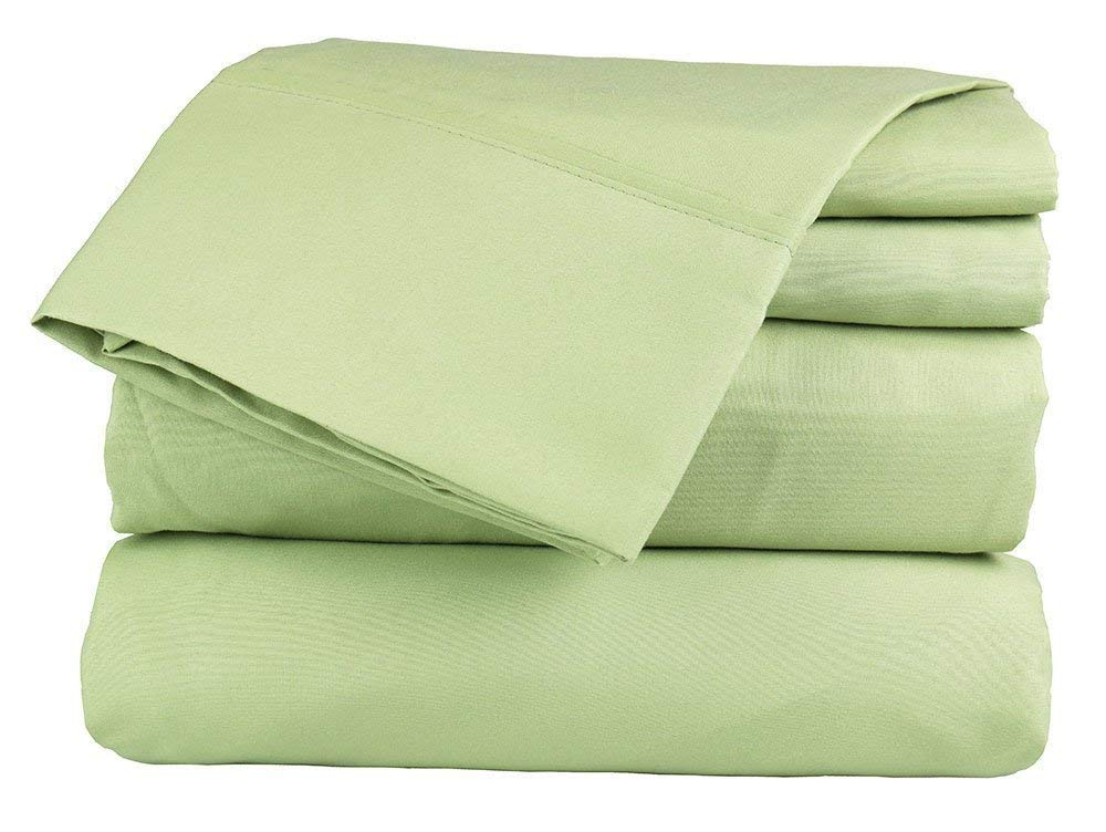 "Rajlinen Luxury 600-Thread-Count Sateen RV/Camper Sheet Sets Made specifically for Campers, RVs, Travel Trailers & Motorhome mattresses (Sage Solid, Short Queen 60"" x 75"" +15"" Drop)"