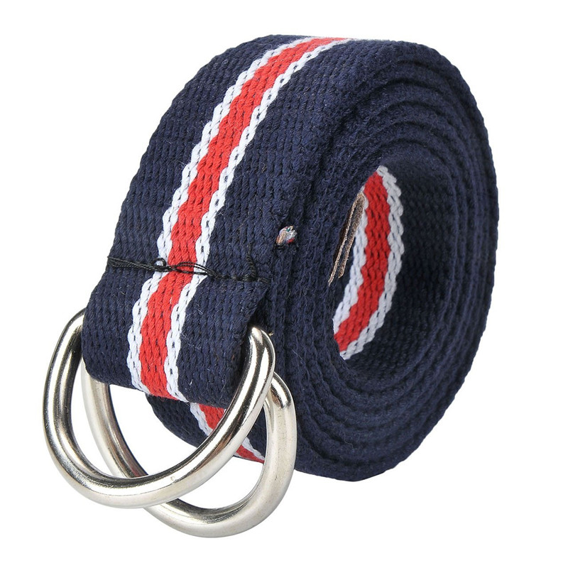Casual Double D-Ring Buckle Stripe or Solid Custom Men's Woven Belt