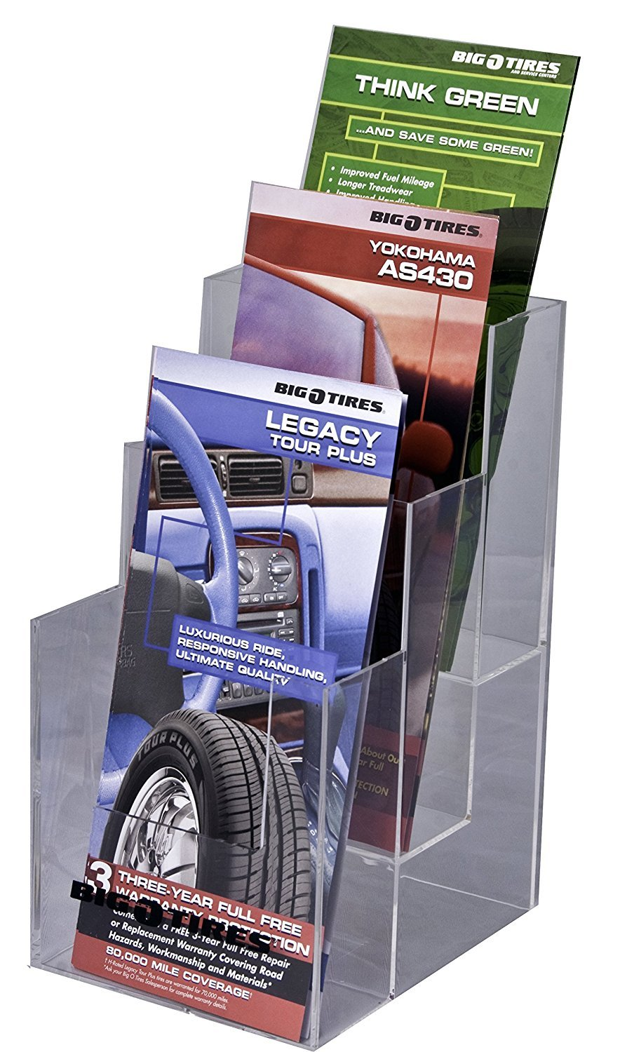 Clear-Ad - LHF-S103 - Acrylic 3 Tier Trifold Brochure Holder - Plastic Literature Holder for Flyers, Booklets, Bills, Mail, Letters, Cards, Pamphlets, Maps (Pack of 4)