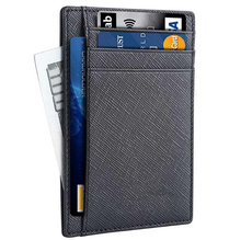 Mens Slim RFID Blocking Front Pocket Minimalist Genuine Leather Credit Card Holder