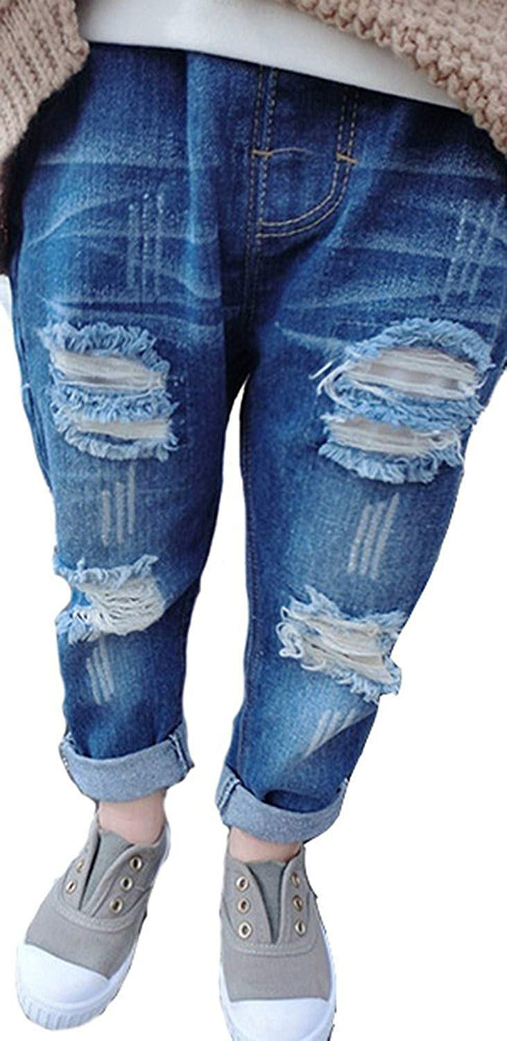 57a1756ce1ea Get Quotations · Baby Boy Girl Ripped Jeans Boyfriend Jeans Casual Blue  Denim Pants