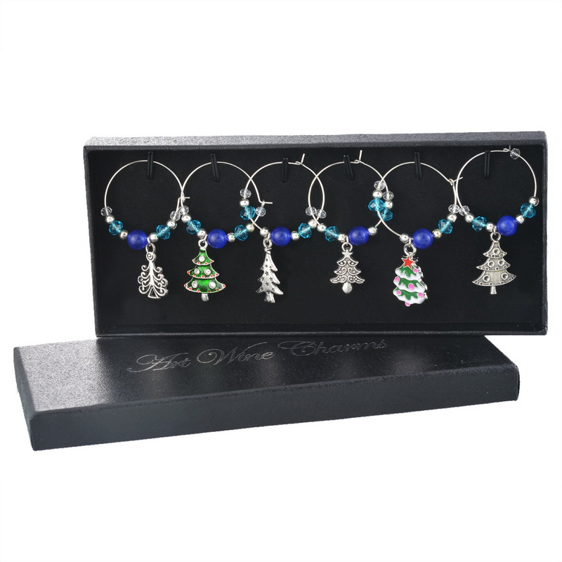 1Box Christmas Dinner Table Decoration Blue Beads Crystal Christmas Tree Enamel Pendant Wine Glass Charms For Wedding & Party