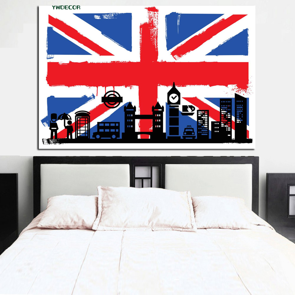 Factory Wholesale Wall Decor Art Canvas Prints Painting The Union Jack Flag Design Modern Stretched Canvas Picture