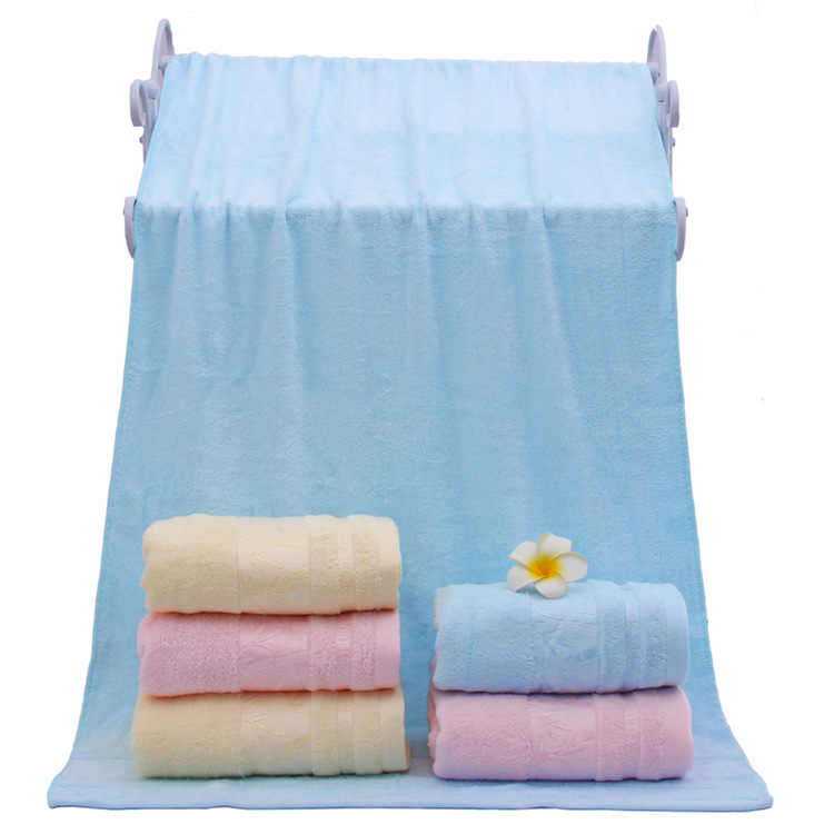 Factory Supply Blended Cotton Bambo Cheap Cut Pile Solid Color Plain Beach Bamboo Towels