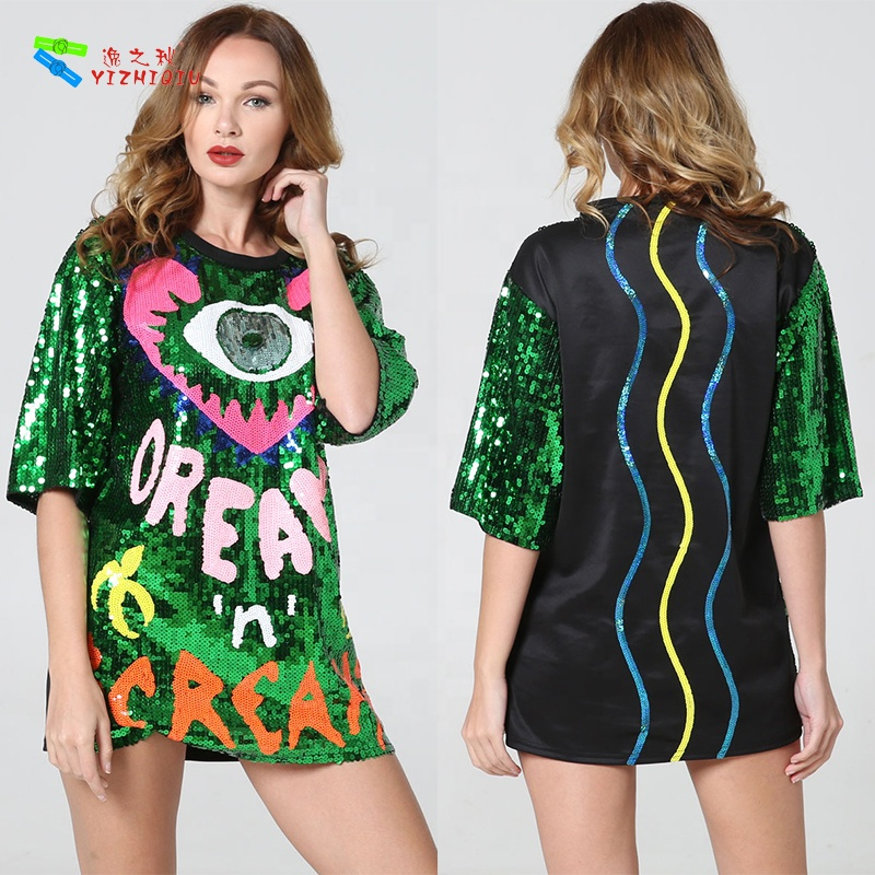 YIZHIQIU sequin dress 2019 new arrival summer club wear young girl sexy club dress