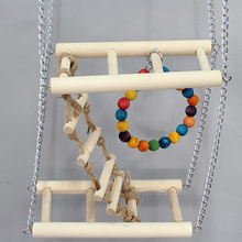 wood ladder + metal swing + colorful bead circular rings 3 in 1 bird toys T41