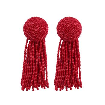 2018 Brazilian Jewelry Exaggerated Handmade Earrings Bohemian Exotic Beaded Tassel Earrings