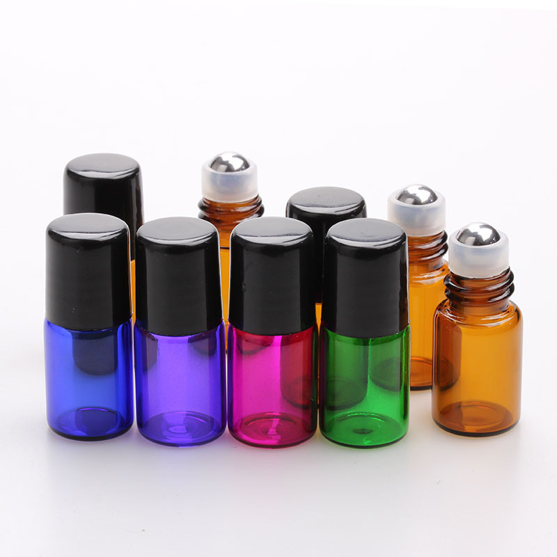 Wholesale 1ml 2ml 3ml color Glass roll on bottle with metal roller ball