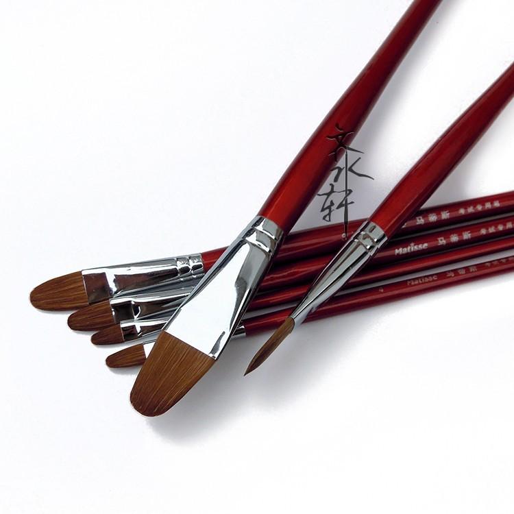 6Pcs Matisse Oil Paint Brush Set Weasel Hair Artist Brushes Filbert Acrylic Gouache Paint Brush Wooden